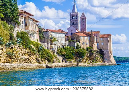 Beautiful Summer Travel Destination Croat Island With Fortification And Beach At Kampor.