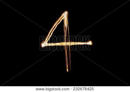 Orange Light Painting Four Number On Black Background