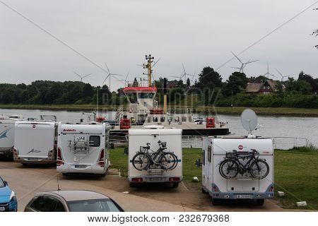 July 2017, Sehestedt, Schleswig-holstein, Germany, Motorhome Campsite At Kiel Canal