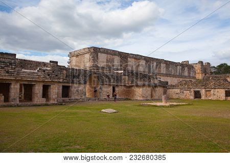 Uxmal, Mexico - January 30, 2018: Majestic Ruins In Uxmal,mexico. Uxmal Is An Ancient Maya City Of T