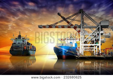 Cargo Container Ship Carrying Container Import And Export  Goods Stand By In The Cargo Yard Port Con