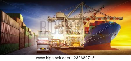 Cargo Truck And Ship With Container Standard By At The Cargo Yard Port  For Backgound  Transportatio