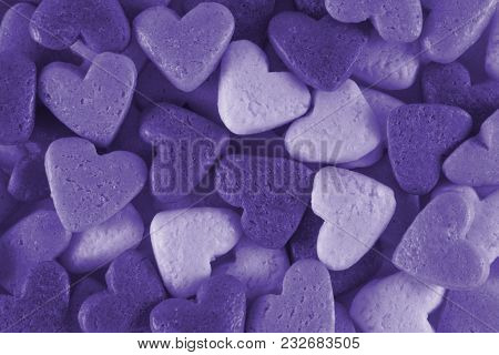 Valentine's Day. Toning In Pantone Color - Ultra Violet. Macro.