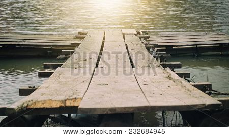 Old Wooden Bridge Ancient Style For Cross The River