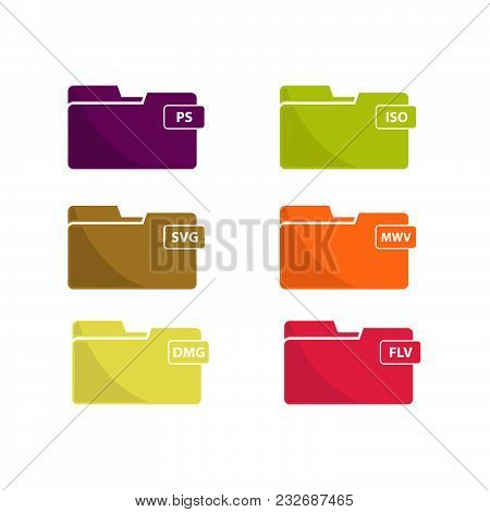 Various Colorful File Folders Isolated On A White Background.