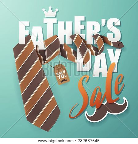 Father's Day Greeting Card Background Design With Necktie