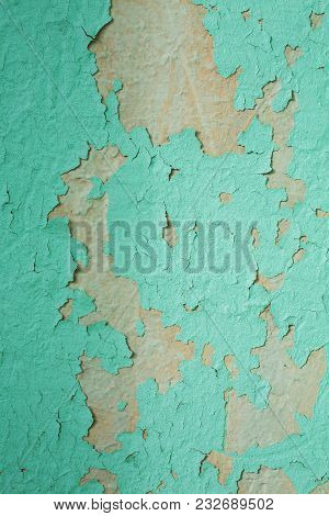 Vintage Old Board With Irradiated Blue Paint