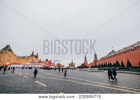Moscow, Russia - December 23, 2016: Tourists On Red Square In Moscow On The Eve Of New Year In Decem