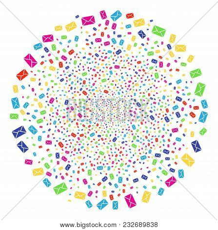 Bright Mail Envelope Explosion Round Cluster. Vector Sphere Explosion Combined With Scatter Mail Env
