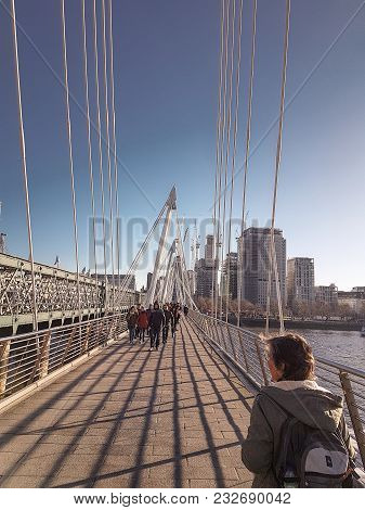 December 28th, 2017, London, England - Hungerford Bridge And Golden Jubilee Bridges, Which Crosses T