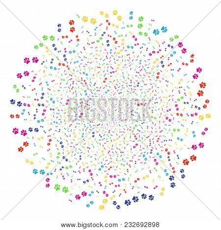 Psychedelic Paw Footprints Explosion Cluster. Vector Spheric Cluster Explosion Created From Random P
