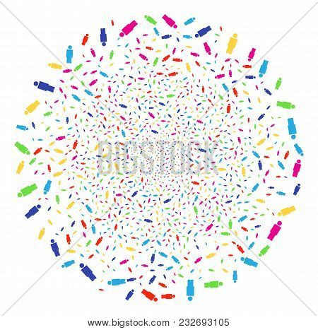 Multicolored Person Exploding Globula. Vector Sphere Fireworks Created With Scattered Person Objects