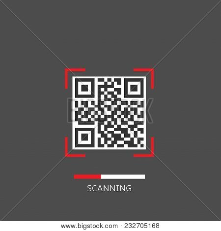Qr Code Scanning On The Grey Background, Vector Illustration