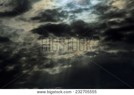 Dramatic Thunderclouds Heavy Gale Black Stormy Clouds Light In The Dark And Dramatic Storm Clouds