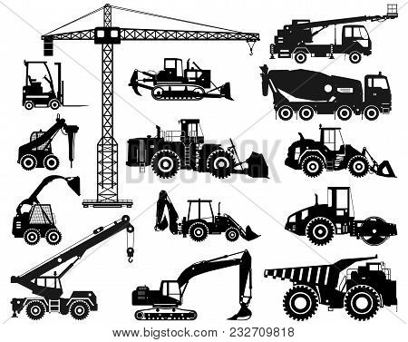 Silhouette Illustration Of Heavy Construction Equipment And Mining Machinery. Building Machinery. Sp