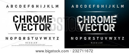 Technology Alphabet Silver Metallic And Effect Designs For Logo, Poster. Exclusive Chrome Letters Ty