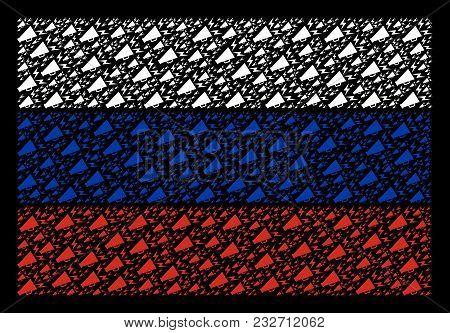Russian National Flag Pattern Composed Of Alert Megaphone Elements. Vector Alert Megaphone Design El