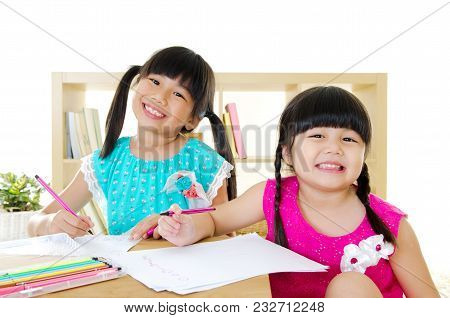 Asian Kids Drawing Pictures With Color Picture