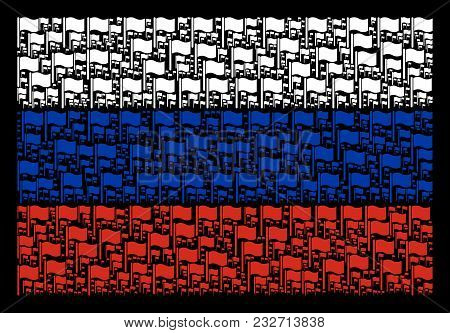 Russia National Flag Collage Designed Of Waving Flag Elements. Vector Waving Flag Design Elements Ar