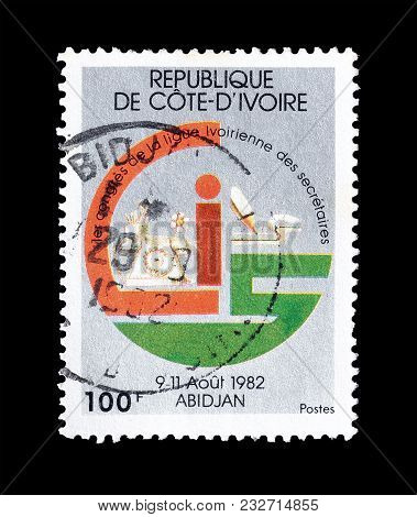 Ivory Coast - Circa 1982 : Cancelled Postage Stamp Printed By Ivory Coast, That Promotes League Of I