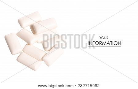 Chewing Gum Pattern On White Background Isolation