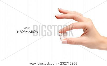 Chewing Gum In Hand Pattern On White Background Isolation