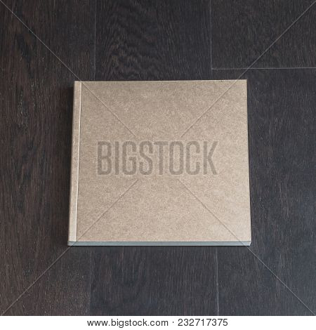 Blank Square Size Book Catalog Magazine Brochure Note Cover Template, Recycle Brown Paper Texture, D