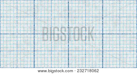 Blue Seamless Millimeter Paper Background. Tiling Graph Grid Texture. Empty Lined Pattern.