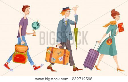 Young Man A Backpack, Man With A Suitcase And An Umbrella, Girl With A Suitcase And A Guidebook. Vec