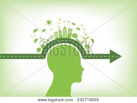 Go Green, Environmentally Saving And Eco Friendly Concept With Human Head, Vector Illustration