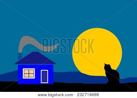 Night Country House With Black Silhouette Cat Vector - Dark Blue Sky Background
