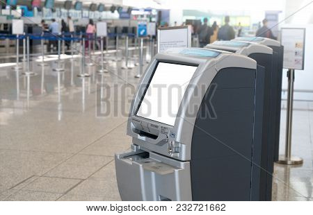 Check In Kiosks In International Airport For Passenger Self Service. Close Up Of Bank Screen Of Elec