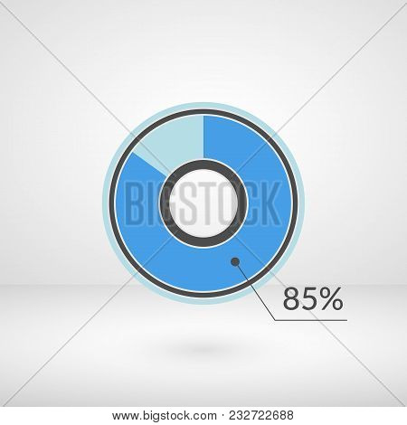 85 Percent Pie Chart Isolated Symbol. Percentage Vector Infographics. Circle Diagram Sign. Business