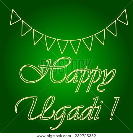 Icons Of Holiday Flags. Holiday Ugadi. Fine Lines. Neon Icon. Neon Sign. Effect Of Neon Glow. Vector
