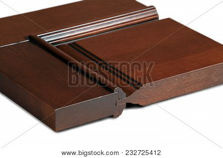 Square Piece Of Dark Wood Doors On A White Isolated Background