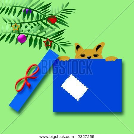 Christmas puppy peeking over top of gift box illustration poster