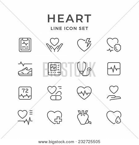 Set Line Icons Of Heart Isolated On White. Vector Illustration