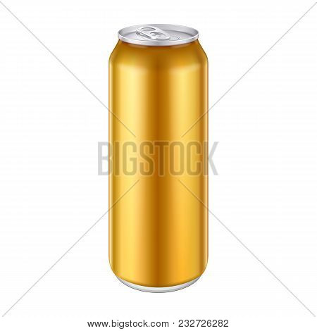 Gold Bronze Yellow Metal Aluminum Beverage Drink Can 500ml, 0, 5l. Mockup Template Ready For Your De