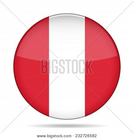 National Flag Of Peru. Shiny Round Button With Shadow.
