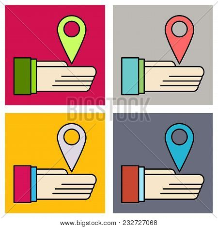 Set Of Geolocation Bar Sign Hand Holds City Map Gps Navigator . Mobile Navigation Concept. Modern Si