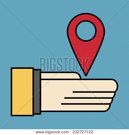 Geolocation Bar Sign Hand Holds City Map Gps Navigator . Mobile Navigation Concept. Modern Simple Fl