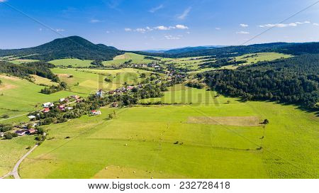 Road, Forest, Village And Mountain Summer Landscape From Above - Drone View