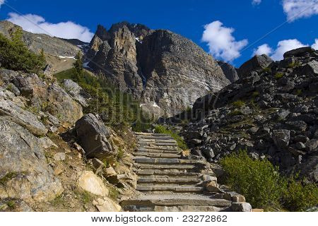 Long stairs leading to mountain