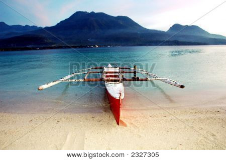 Boat On Camiguin Island Facing Volcano