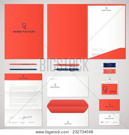 P Logo And Identity. Roll Of Paper Logo. Envelope, Folder, Cover, Letterhead, Letter, Pens, Pencils,