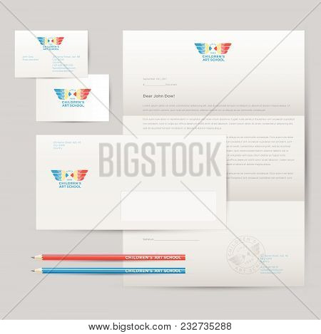 Logo Of Art School And Identity. Pencils With Wings Emblem. Envelope, Letterhead, Business Cards, Pe