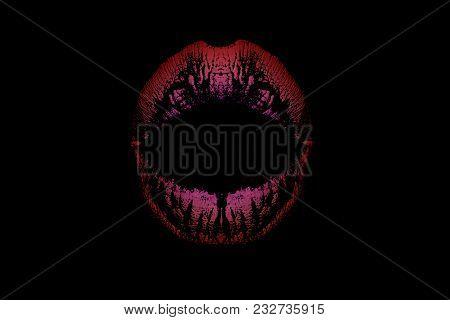Red And Purple Lips On Black Background, Original Lipstick, Evening Make-up, Female Lipstick Isolate