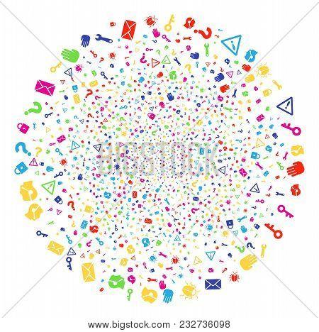 Multi Colored Secrecy Symbols Fireworks Spheric Cluster. Vector Sphere Burst Created By Scatter Secr