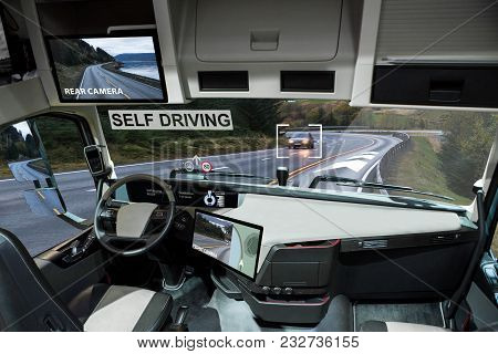 Self Driving Electric Truck On A Road. Inside View.