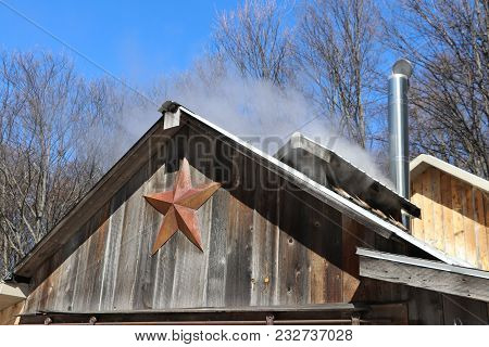 Steam From The Production Of Maple Syrup From A Sugar Shack In Northern Michigan